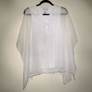 NWT Peck & Peck White Blouse Gold Detailing   S